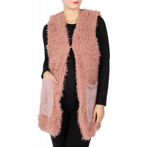 Wholesale R71S Faux fur vest with pockets