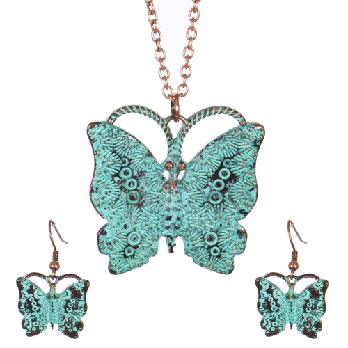 Wholesale WA00 Vintage butterfly necklace set OG