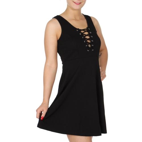Wholesale I12C Eyelet lace up dress Black