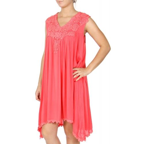 Wholesale K56A Paisley crochet neck solid short dress PLUS SIZE CORAL