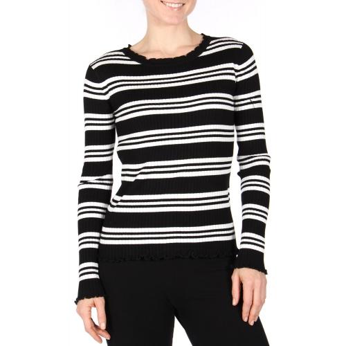 Wholesale A31D Ruffle trim stripe sweater Black