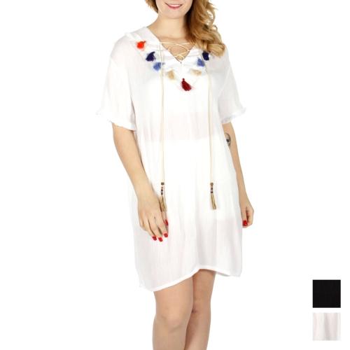 Wholesale K41B Colorful tassels & string spring dress Black