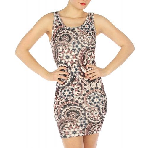 wholesale K18 Cotton ancient print dress Red/Black S/M