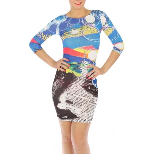 wholesale K17 Muticolored cut out dress Blue S