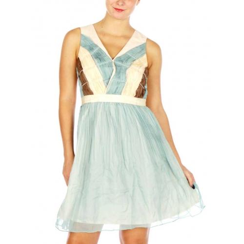 Wholesale N17D Lovely V Neck Pleated Dress CREAM
