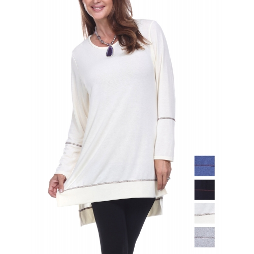 Wholesale I14D Solid high low tunic