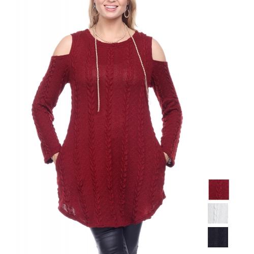 Wholesale K81D Cold shoulder curved hem knit PLUS SIZE