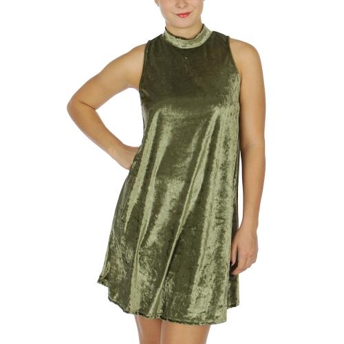Wholesale WA00 Sleeveless Solid Velvet Dress Black
