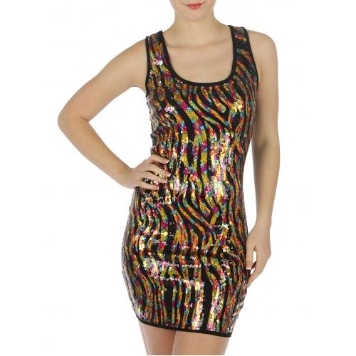 wholesale G35 Ladies sleeveless sequin front dress BK S