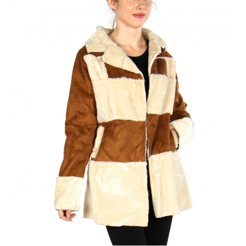 Wholesale S50C Colorblock faux fur jacket