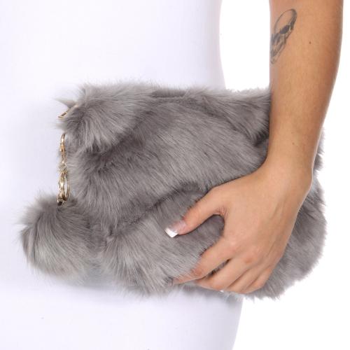 Wholesale T67C Faux fur clutch bag Gray