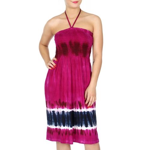 N02 Tie dye effect smocked wholesale dress TQ