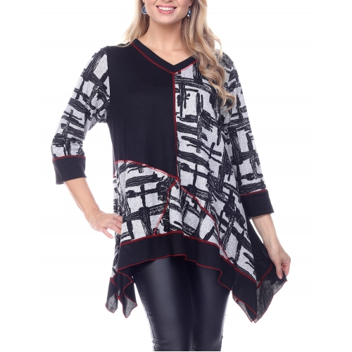 Wholesale H30B Asymmetric tunic Black PLUS SIZE