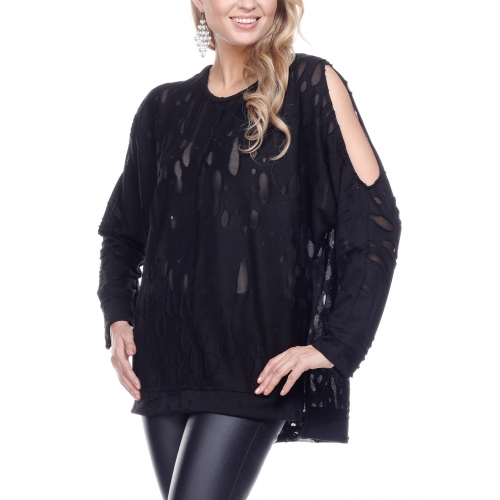 Wholesale K59B Distressed tunic top PLUS SIZE