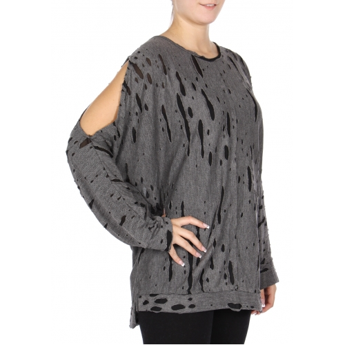 Wholesale K30B Distressed tunic top BLACK