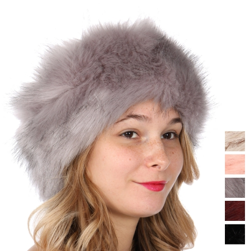 Wholesale T69D Faux fur head wrap