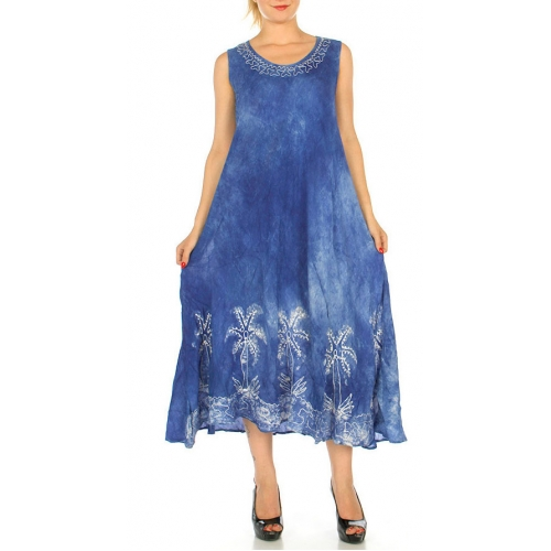 Wholesale I46D Long Palm Trees Tie Dye Dress PP