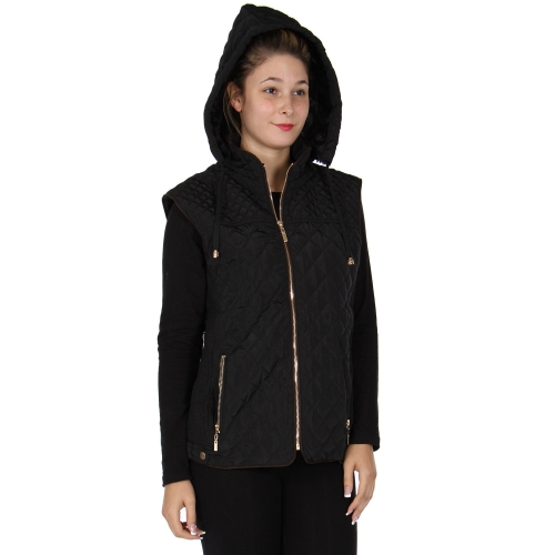 Wholesale T26B Quilted vest with faux fur lining and hood Black