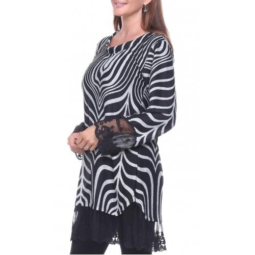 Wholesale J10B Lace trim zebra top BLACK PLUS SIZE
