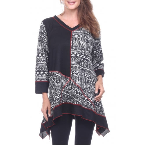 Wholesale G37D Sharkbite print tunic top BLACK PLUS SIZE