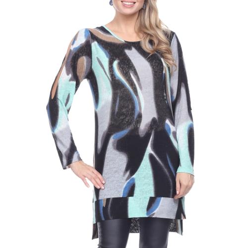 Wholesale H14C Cold shoulder print tunic BLUE