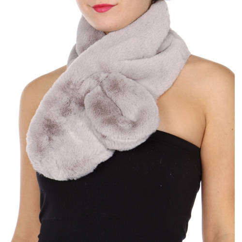 Wholesale T67C Faux fur scarf with slit Solid