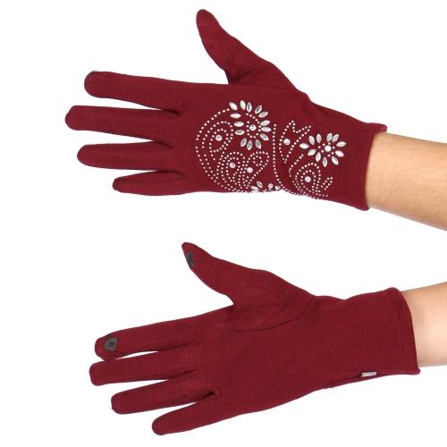 Wholesale T76C Paisley rhinestone touch screen gloves BK