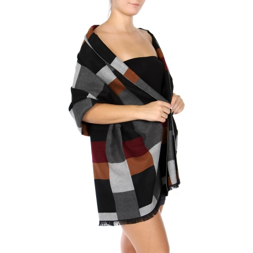 Wholesale R81C Cotton blend colorblock shawl BK/MT