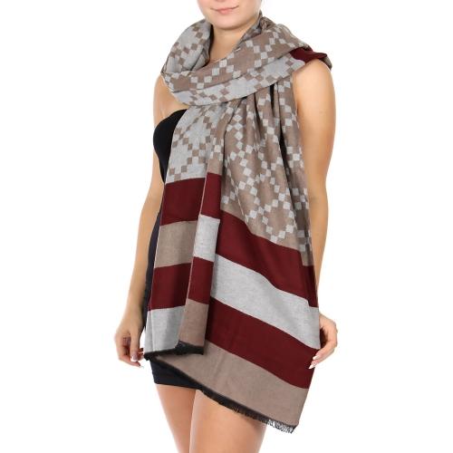 Wholesale R31A Cotton blend striped shawl BU/MT