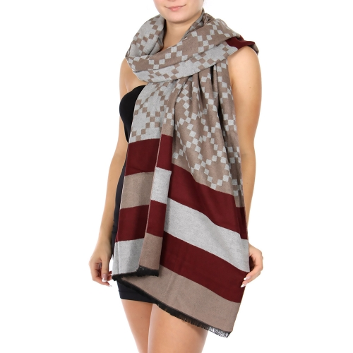 Wholesale R31A Cotton blend striped shawl BU/MT