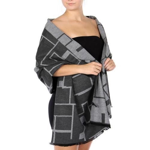 Wholesale R76B Cotton blend maze shawl GY/MT