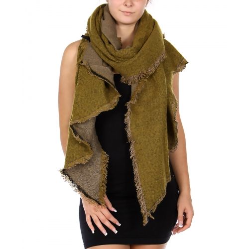 Wholesale Q69S Reversible solid jagged cut shawl BK