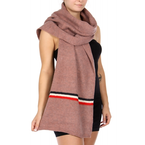 Wholesale T10S Oversized stripe accent scarf BK