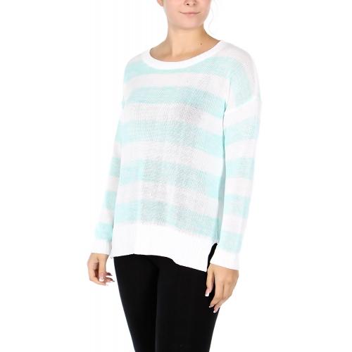 Wholesale U10S Striped light weight sweater Black