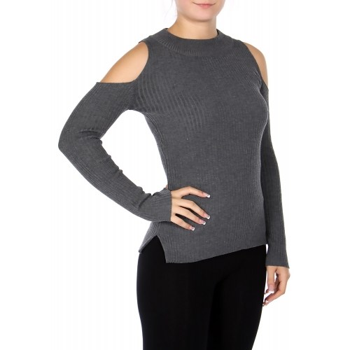 Wholesale S60S Cotton blend scoop neck cold shoulder sweater Black