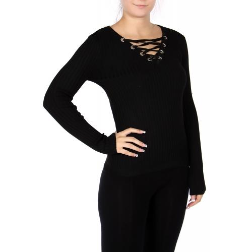 Wholesale E50 Cotton blend lace up sweater Black