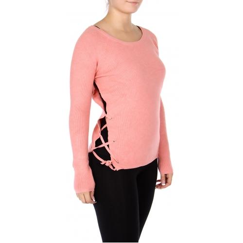 Wholesale E50 Criss cross side slit sweater Black