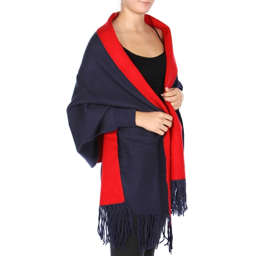 Wholesale T78A Reversible fringe shawl BK/GY