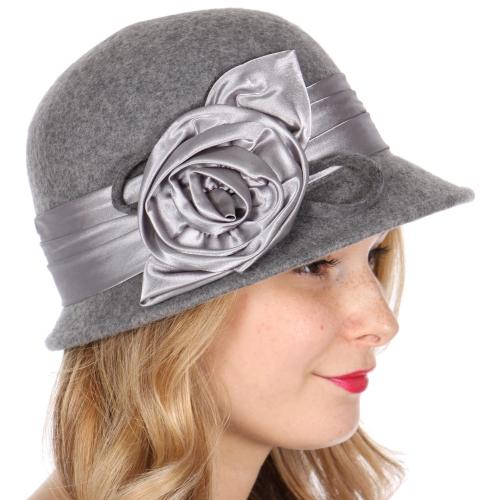 Wholesale W21 Wool glossy flower ribbon cloche hat Black
