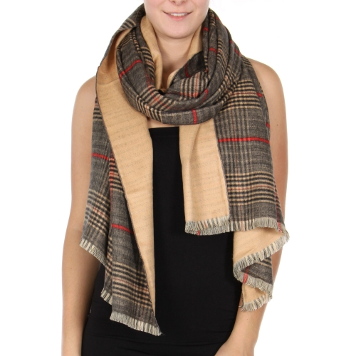 Wholesale T29A Cotton blend reversible plaid scarf BK/BE