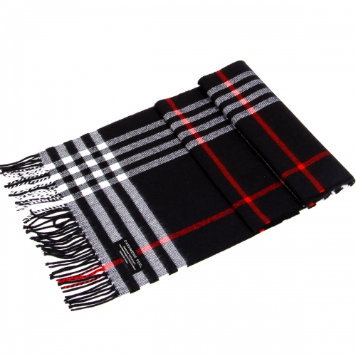 Wholesale P32 Cashmere feel scarf with fringe Black/White
