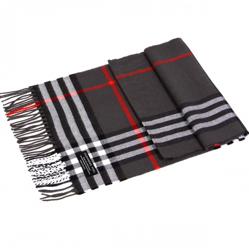 Wholesale P32 Cashmere feel scarf with fringe Black/Gray