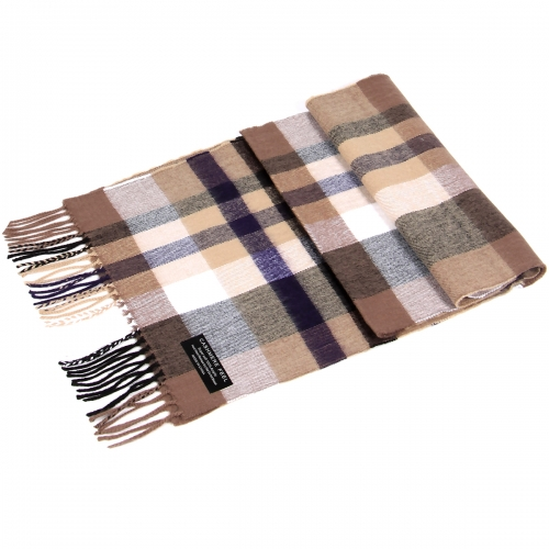 Wholesale P32 Cashmere feel scarf with fringe Beige/Purple