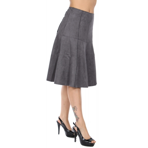 Wholesale Q25B Faux suede flare skirt Blush
