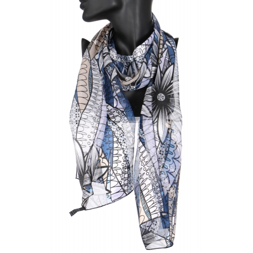 Wholesale WA00 Large flower satin stripe scarf BL