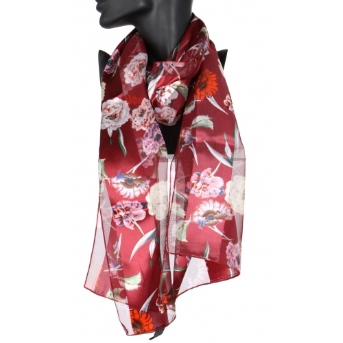 Wholesale WA00 Flower blossom satin stripe scarf BK