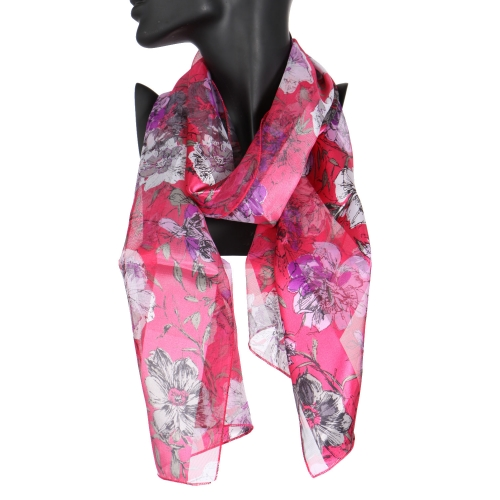 Wholesale WA00 Dark garden flower satin stripe scarf BL