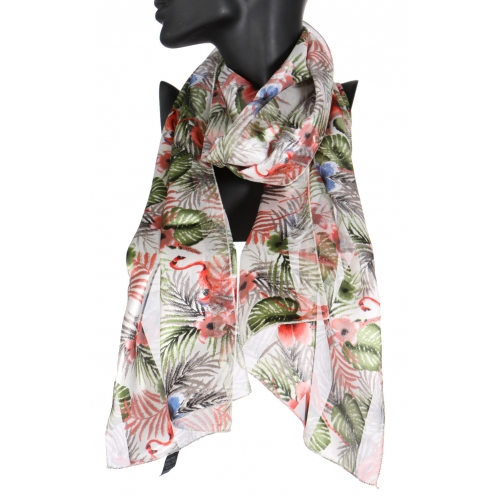 Wholesale WA00 Jungle flower satin stripe scarf BK