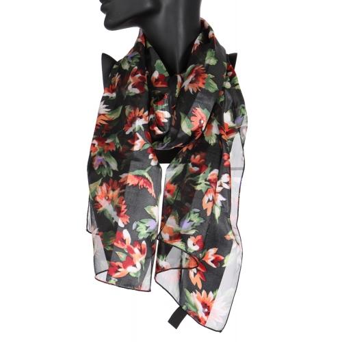 Wholesale WA00 Blooming flower satin stripe scarf BK
