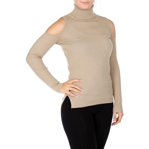 Wholesale S60S Cotton blend cold shoulder turtle neck sweater Khaki
